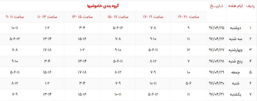 برنامه قطع برق نجف آباد چهار شنبه 27 تیر