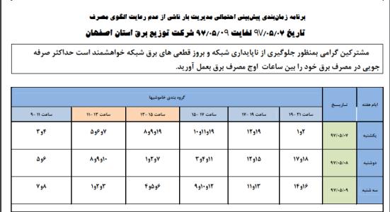 جدول قطع برق نجف آباد 7 الی 9 مرداد